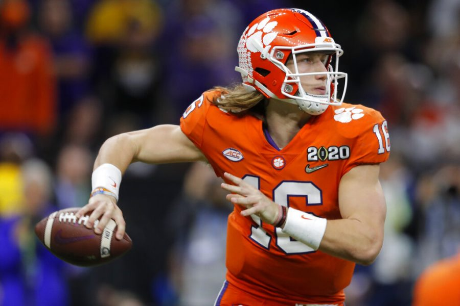 In this Jan. 13, 2020, file photo, Clemson quarterback Trevor Lawrence passes against LSU during the second half of a NCAA College Football Playoff national championship game, in New Orleans. Lawrence is on a streak of 314 pass attempts without an interception, a run dating back to last Oct. 19 when he was picked off twice at Louisville in Clemsons 45-10 victory. (AP Photo/Gerald Herbert, File)