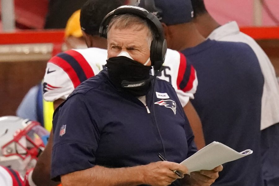 New+England+Patriots+head+coach+Bill+Belichick+wears+two+masks+as+he+watches+from+the+sideline+during+the+first+half+of+an+NFL+football+game+against+the+Kansas+City+Chiefs+%2C+Monday%2C+Oct.+5%2C+2020%2C+in+Kansas+City.+The+New+England+Patriots+have+canceled+practice+amid+reports+that+a+third+player+has+tested+positive+for+the+coronavirus.%0ASports+Illustrated+reported+that+reigning+NFL+Defensive+Player+of+the+Year+Stephon+Gilmore+tested+positive+for+the+virus+on+Wednesday%2C+Oct.+7%2C+2020%2C+and+was+added+to+the+team%27s+reserve%2FCOVID-19+list.+%28AP+Photo%2FCharlie+Riedel%29