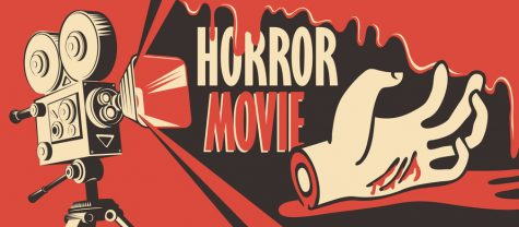 Vector banner for festival horror movie. Illustration with old film projector and a severed hand in a puddle of blood. Scary cinema. Horror film night. Can be used for ad, flyer, web design, tickets.