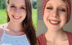 Haley Galvin before and after beginning chemotherapy treatments to fight ovarian cancer.