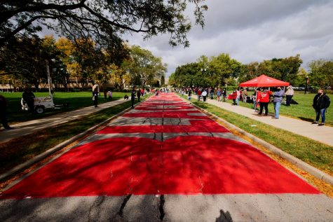 "DeKalb community members and NIU students and staff paint ""Black Lives Matter"" Thursday on Castle Drive."