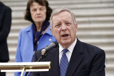 FILE - In this Oct. 22, 2020 file photo, Sen. Dick Durbin, D-Ill., speaks during a news conference at the Capitol in Washington. Durbin is running for re_election against Republican Tom Cotton in the Nov. 3, 2020, general election. (AP Photo/J. Scott Applewhite File)