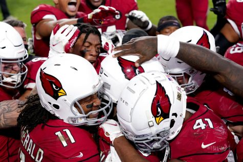 The Arizona Cardinals celebrate after their game winning touchdown against the Buffalo Bills during the second half of an NFL football game, Sunday, Nov. 15, 2020, in Glendale, Ariz. The Cardinals won 32-20.
