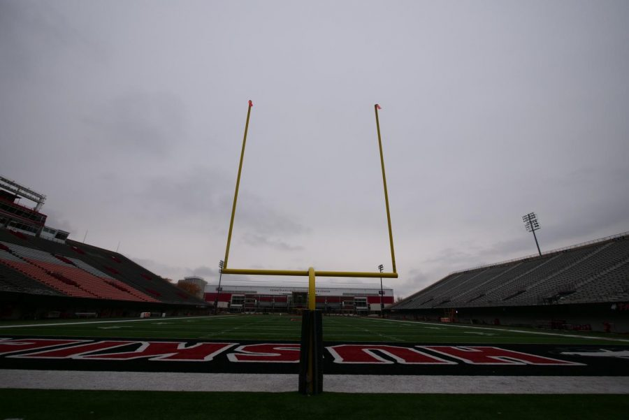 View of the south Huskie Stadium goal post Oct. 19, at Huskie Stadium in DeKalb.