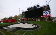 View of the NIU jumbotron from inside Huskie Stadium Oct. 19, in DeKalb, Illinois.