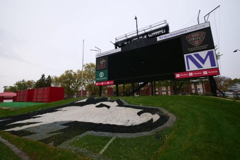 View of the NIU jumbotron from inside Huskie Stadium Oct. 19, in DeKalb, Illinois.