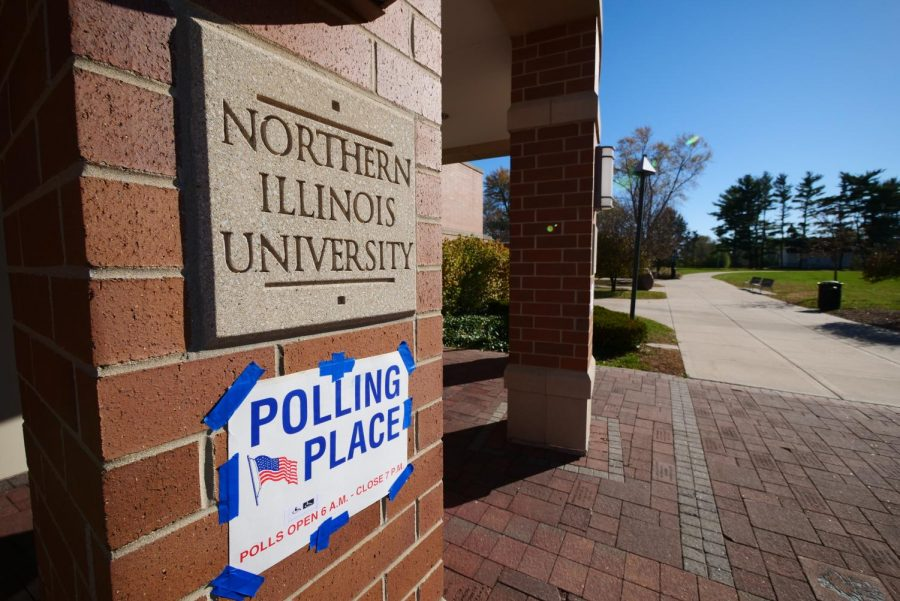 Polling place sign on the Barsema Alumni and Visitor's Center on Nov. 3.