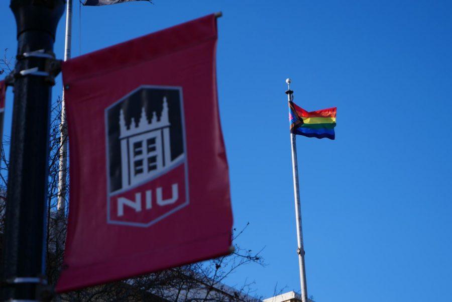 Progress LGBTQ+ Pride flag outside the Holmes Student Center.