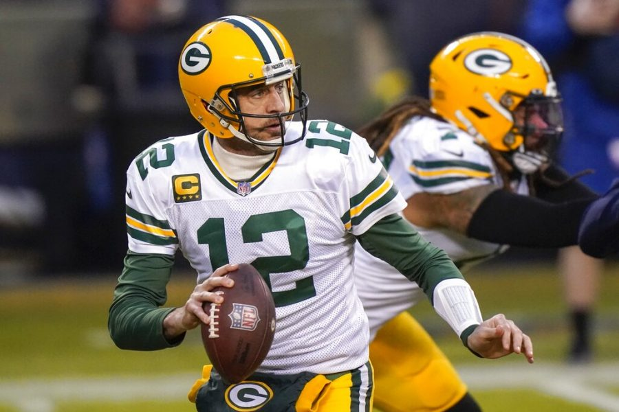 Green+Bay+Packers%27+Aaron+Rodgers+drops+back+to+pass+during+the+first+half+of+an+NFL+football+game+against+the+Chicago+Bears+Sunday%2C+Jan.+3%2C+2021%2C+in+Chicago.