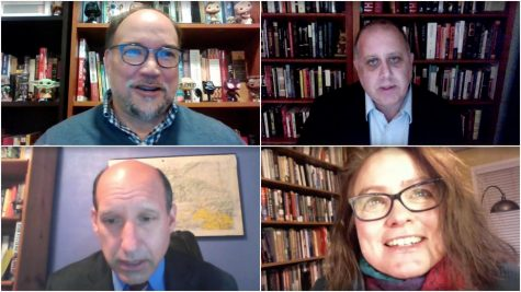 Simón Weffer, associate professor of sociology, professor of law Marc Falkoff and professor of law Robert Jones and Rosemary Feurer, associate professor of history via Microsoft Teams.