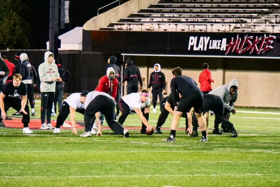 NIU's football team practices at Huskie Stadium on November 2nd.