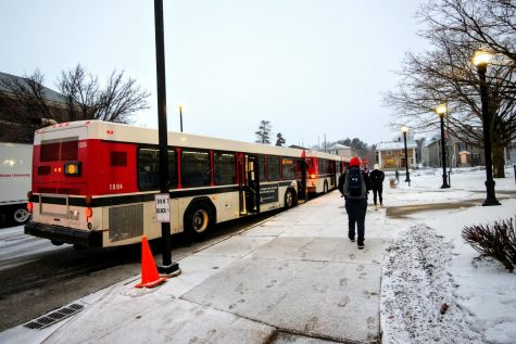 Buses lined up at the Holmes Student Center Monday. The COVID-19 pandemic has put a restraint on drivers and passengers.