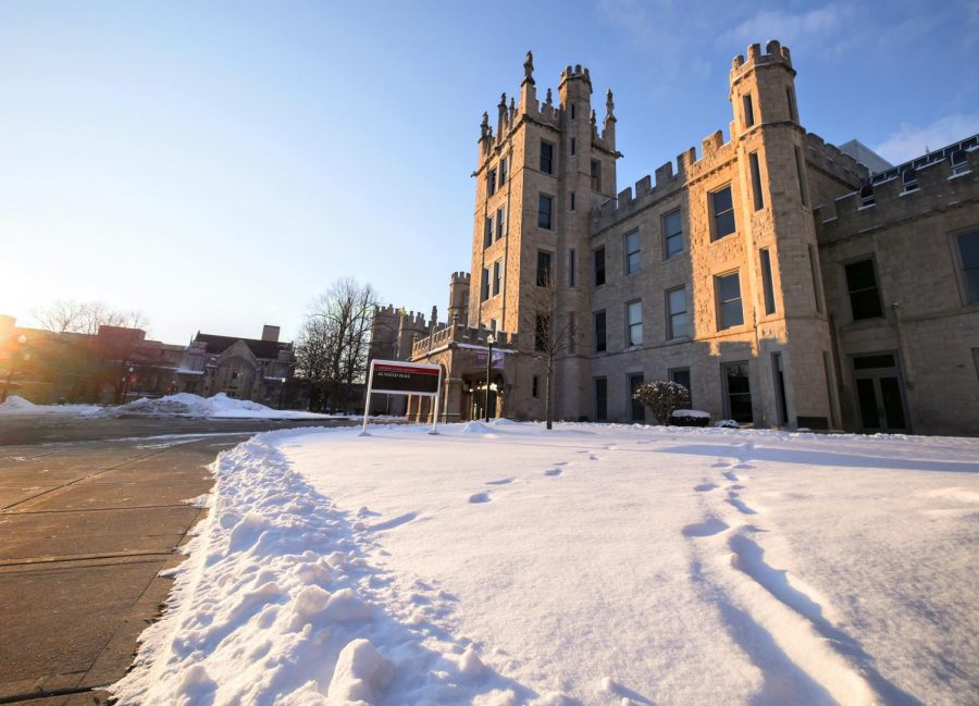 Tracks+of+footprints+leading+up+to+Altgeld+Hall+in+February+2020.