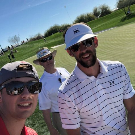 Following walking 18 holes with his group. Olympian Michael Phelps (right) takes a selfie with Northern Star Media journalist Wes Sanderson (left) Jan. 31, 2018, in Scottsdale, Arizona. Phelps and Sanderson were in the same group during the Annexus Pro-Am.