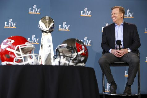 NFL football commissioner Roger Goodell speaks at a press conference ahead of Super Bowl 55, Thursday, Feb. 4, 2021, in Tampa, Florida.