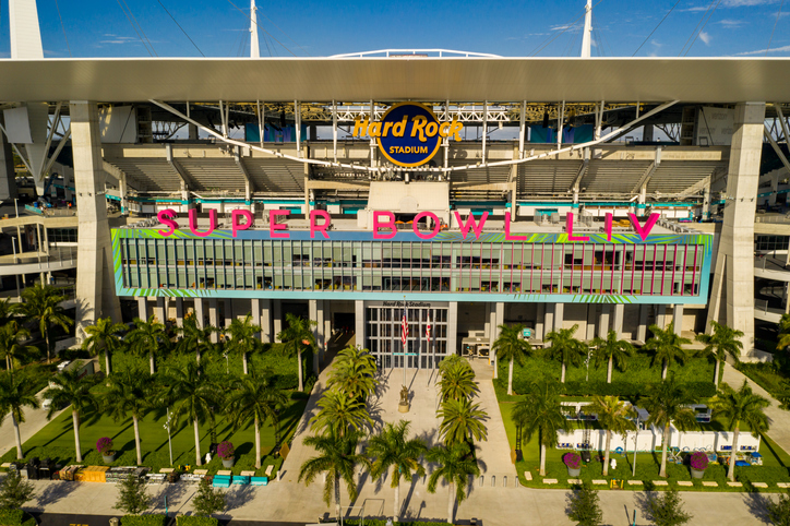 Miami, FL, USA - January 25, 2020: Aerial photo Miami Hard rock Stadium hosting 2020 Super Bowl LIV