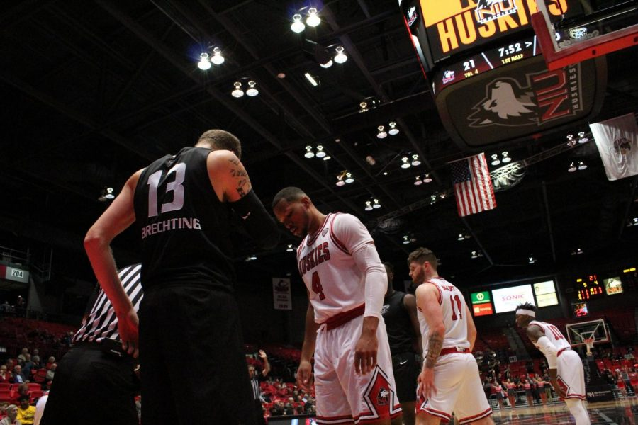 Former NIU forward Lacey James (center) waits to defend an inbound play, along with former NIU foward Noah McCarty (second from right) and former NIU guard Eugene German (right) Nov. 25, 2019, during NIUs 74-50 win over the Oakland University Golden Grizzlies at the NIU Convocation Center in DeKalb.