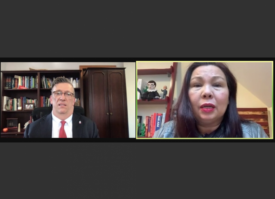 Robert Brinkmann, dean of the College of Liberal Arts and Sciences, and U.S. Senator Tammy Duckworth at the virtual event Thursday.