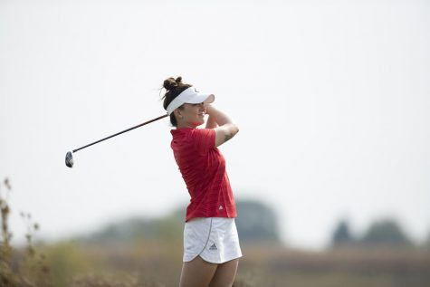 NIU senior Lauren Ingle tees off Oct. 9. during an intra-squad round at Rich Harvest Farms in Sugar Grove, Illinois.