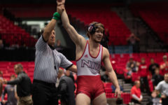 Then-redshirt sophomore Brit Wilson being announced the 2020 MAC 184-pound Champion March 8, 2020 after his win in the 2020 MAC Championship finals at the NIU Convocation Center.