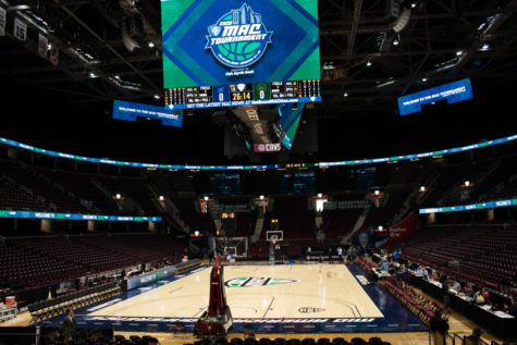 The Rocket Mortgage FieldHouse sits empty March 12, 2020, after the cancellation of the 2020 Mid-American Conference Championship tournaments due to the COVID-19 pandemic in Cleveland, Ohio.