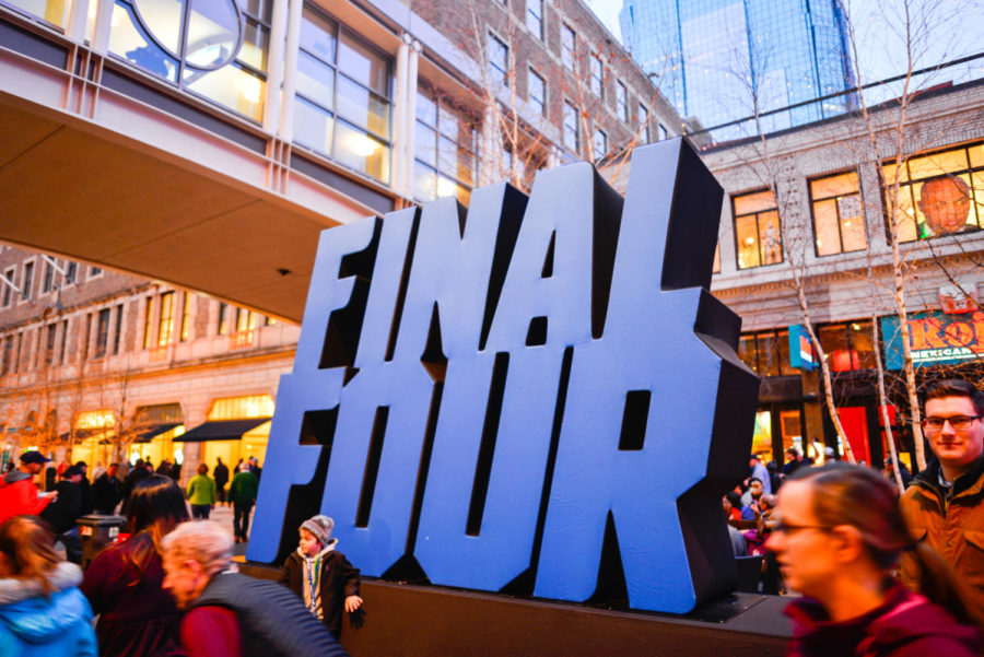 Minneapolis, MN, USA. 4/6/2019: Entertainment in Minneapolis, Minnesota for the NCAA Final Four Basketball Tournament on Nicollet Mall. Signage on the the street.