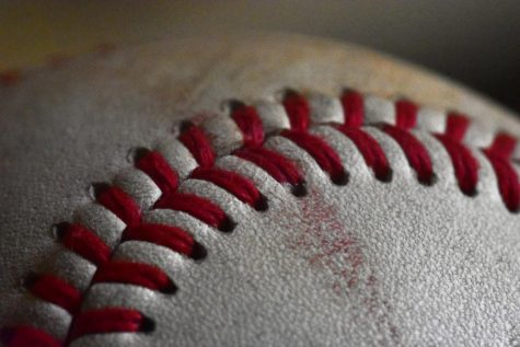 Close-up view of a baseball.