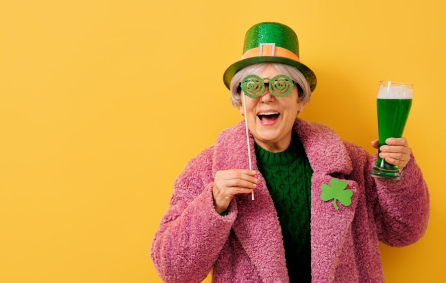 The senior woman in leprechaun hat for a Saint Patrick's Day.