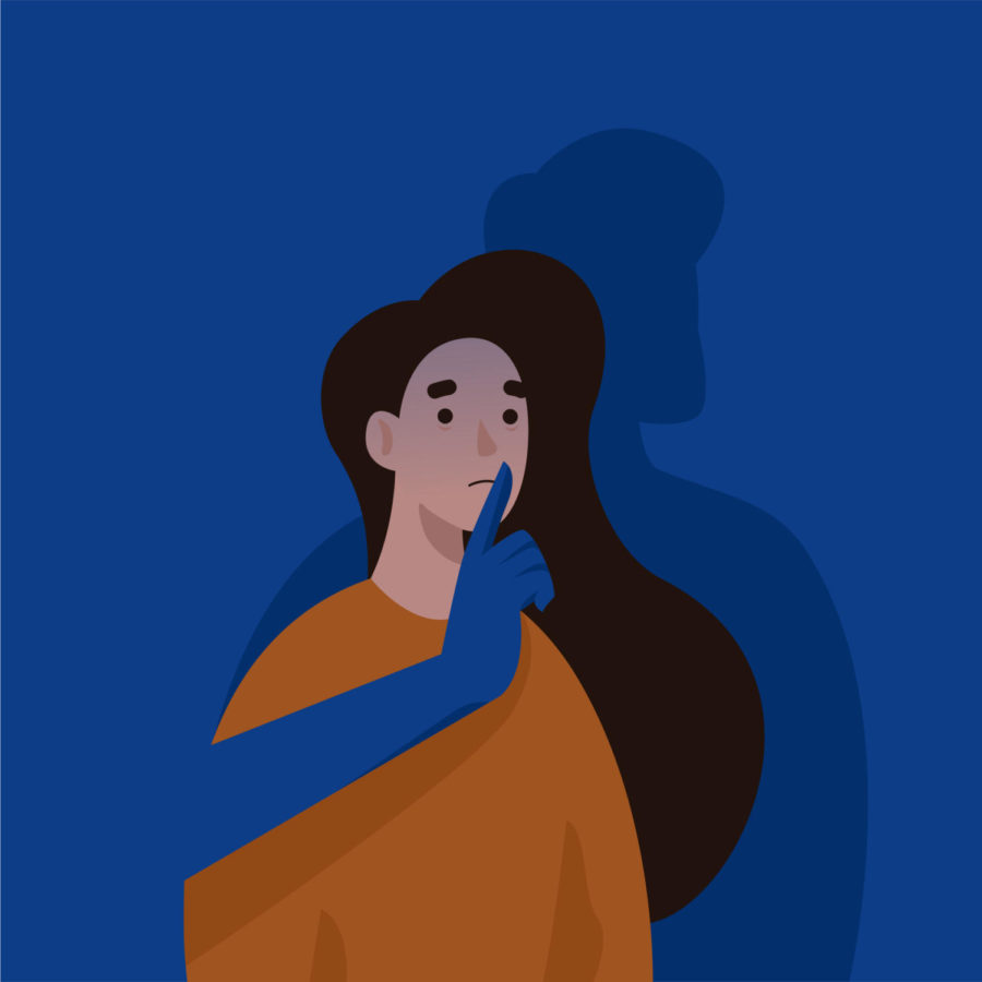 Graphic of a shadow of a man silencing a distraught woman by shushing her.