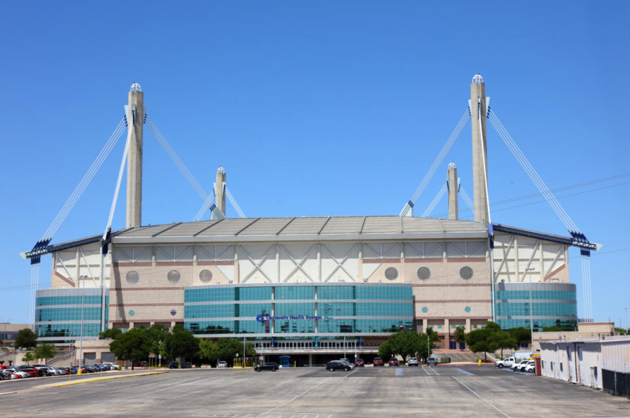San Antonio, Texas, USA - April 14, 2018: Daytime view of the domed 64,000-seat, multi-purpose facility and home of the San Antonio Spurs of the NBA