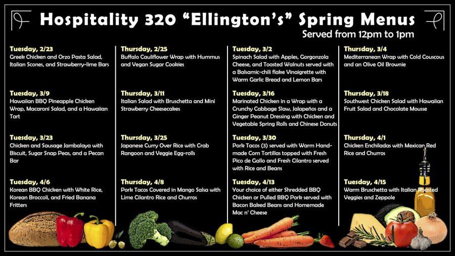 Spring menu for the Hospitality 320 class.
