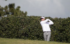 NIU graduate student Jordan Less hits driver on the second hole Mar. 8 at San Diego Country Club during the first round of the Lamkin San Diego Classic. Since graduation in May, Less has competed in US Open qualifiying and is not entering the first stage of Korn Ferry Tour Q-School