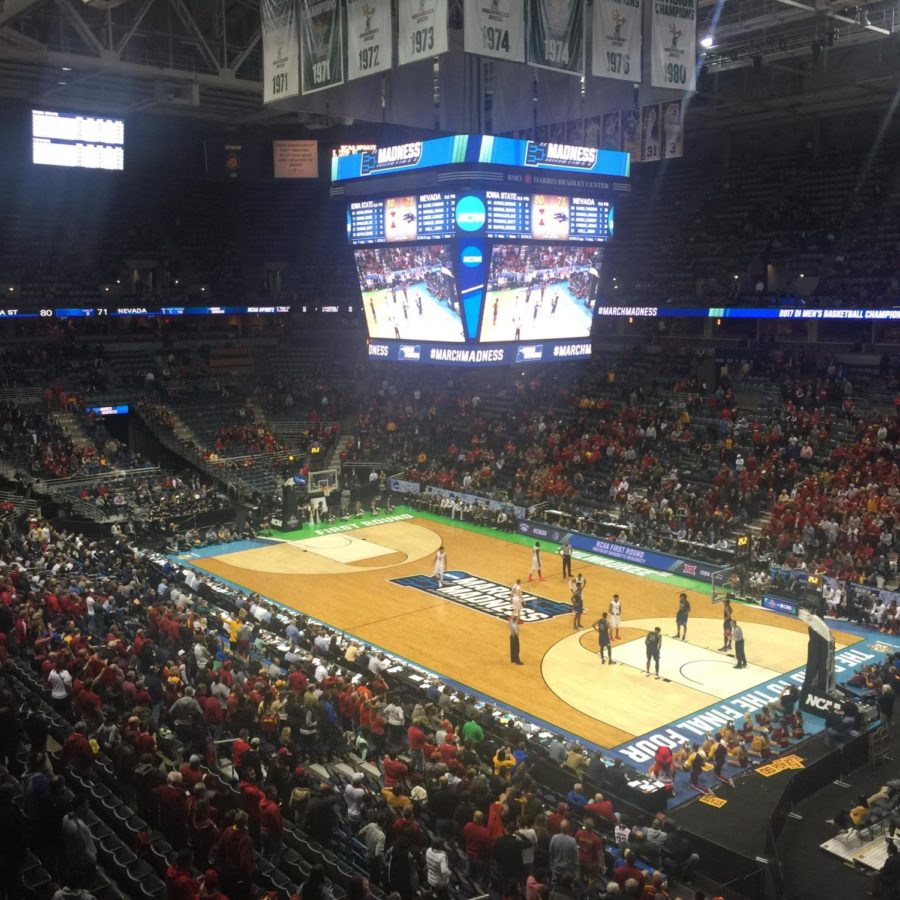 Fans line the BMO Harris Bradley Center in Milwaukee, Wisconsin for the 2017 NCAA Men's Basketball Tournament Round of 64 on March 16, 2017.