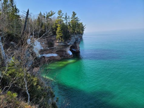 A cliff at Pictured Rocks National Lakefront in Michigan.