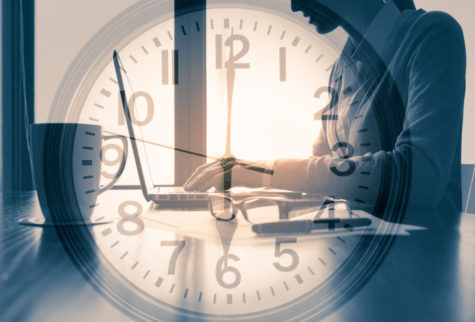 Photo manipulation of person working in office around the clock. concept.