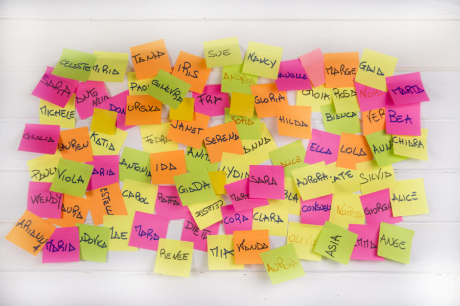 A pile of colorful sticky notes with different names on them are stuck on a wall.