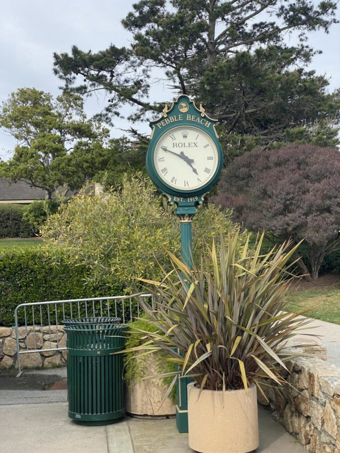 The famed Rolex clock greets all guests as they enter the Pebble Beach Golf Links property in Monterey, California.