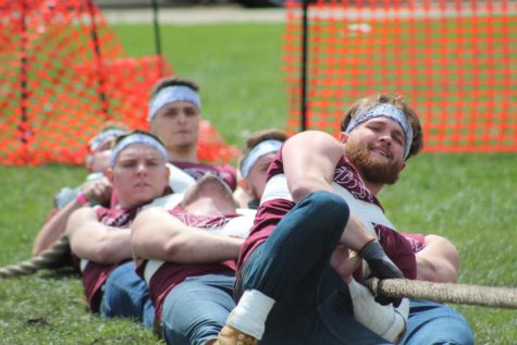 Phi Sigma Kappa tugging against Alpha Sigma Phi, April 17, in their match outside the Yordon Center in DeKalb. Phi Sigma Kappa would go on to win the 2021 TUGS tournament.