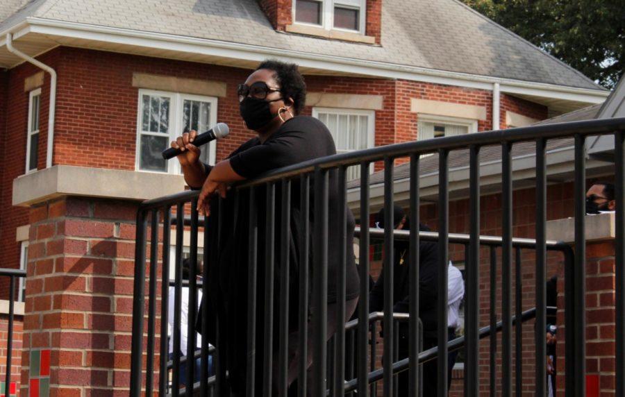 Anne Edwards, Director for the Center for Black Studies, speaks to protesters outside the Center for Black Studies on Sept. 23.