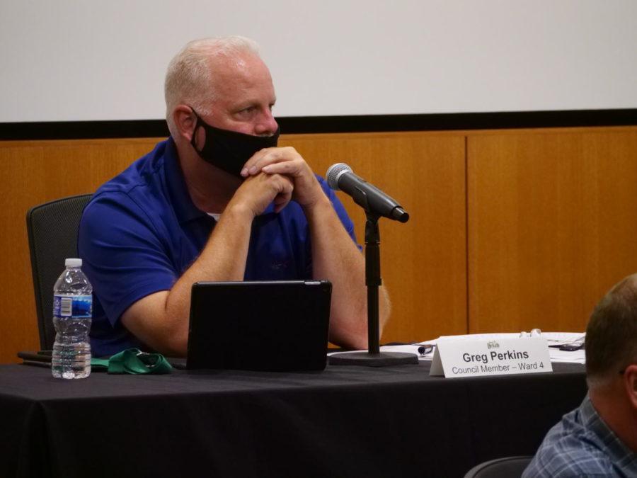 Alderman Greg Perkins sits during a DeKalb City Council meeting July 13, 2020, in DeKalb.