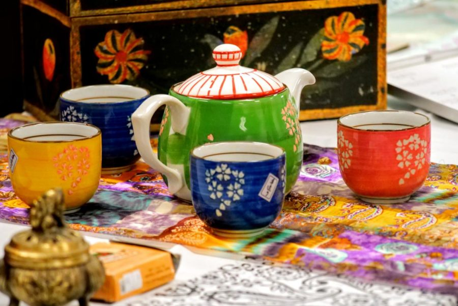 A colorful tea set rests on a table as a display Wednesday during NIU's Chinese Club's tea ceremony in DuSable Hall.