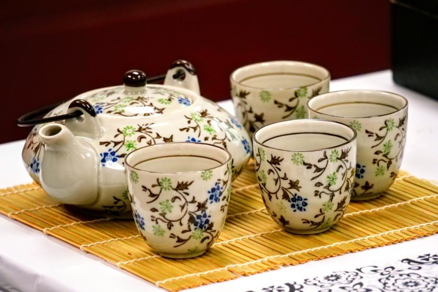 A tea set is displayed on a table Wednesday during Chinese Club's tea ceremony.