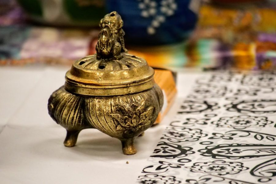 An incense burner sits on display Wednesday during Chinese Club's tea ceremony.