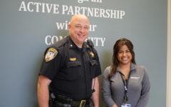 Commander Jason Leverton (left) and social worker Abbie Ascencio (right) at the DeKalb Police Department April 8.