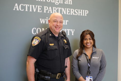 Commander Jason Leverton (left) and social worker Abbie Ascencio (right) at the DeKalb Police Department April 8.