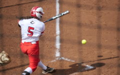 Junior infielder Bianca Barone hits one down the third-base line Friday April 9 against the Western Michigan University Broncos.
