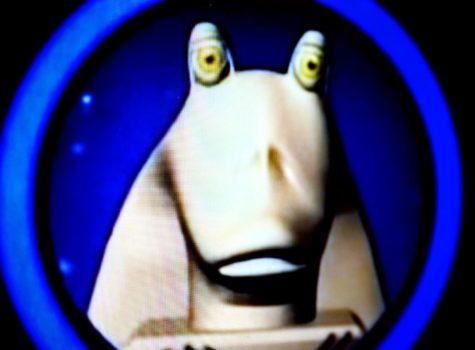 Video game still of Jar Jar Binks.
