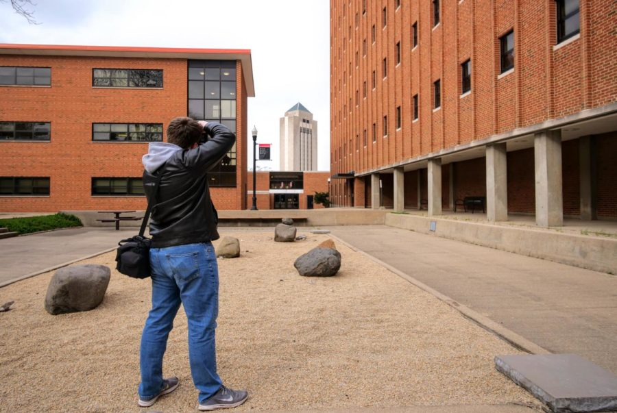 One of my favorite compositional tools is the use of natural frames for your subject. Here, I am photographing the student center, but the buildings surrounding it create a natural frame that outlines and narrows the focus towards the subject.