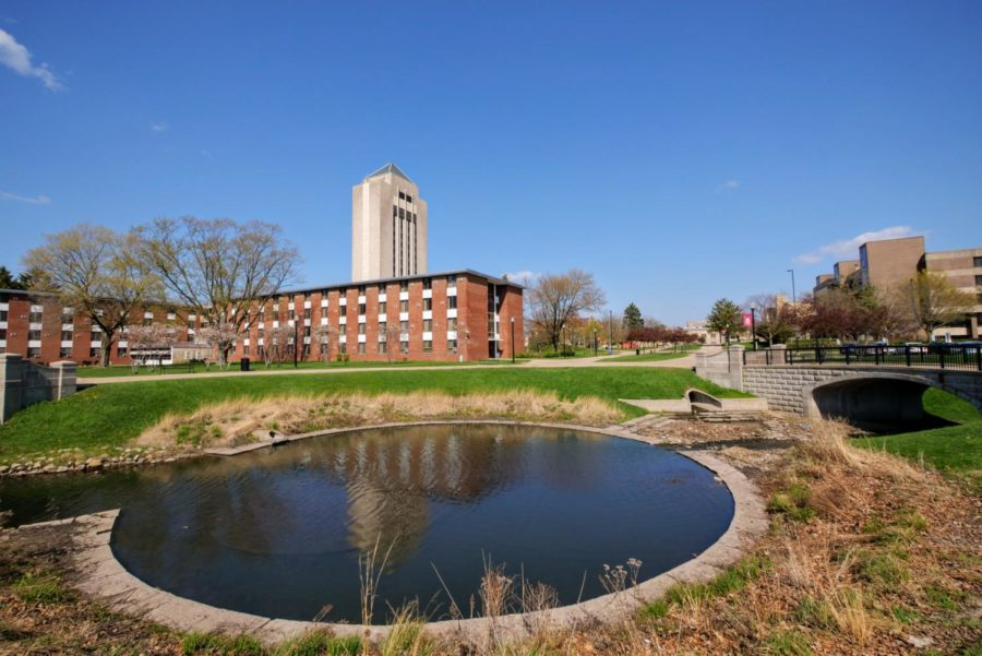 Water flows through the pond outside of Cole Hall Thursday.