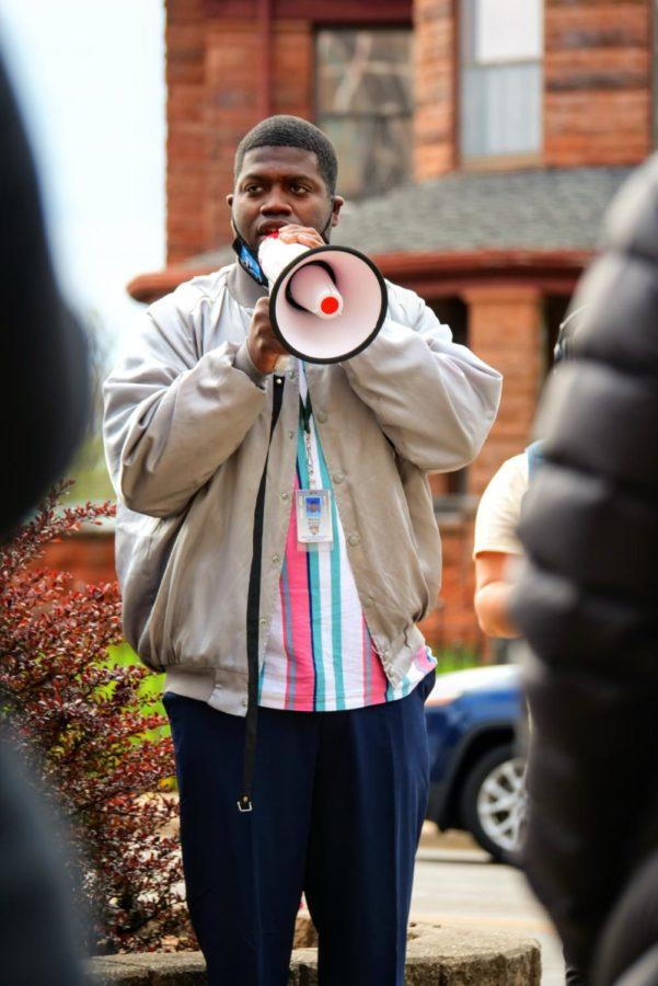 DeKalb community member Maurice McDavid speaks to everyone attending the vigil for Daunte Wright, Adam Toledo and George Floyd Friday.